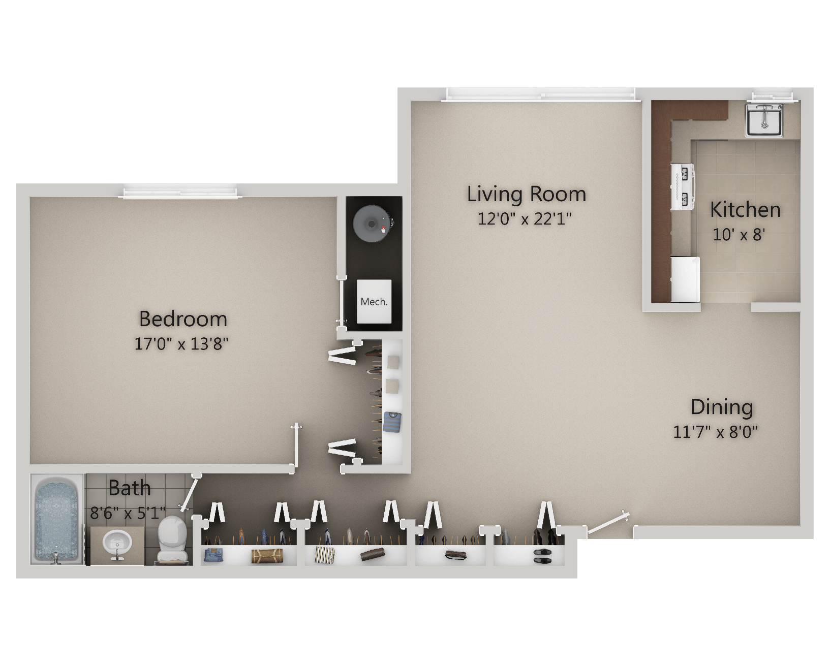 Lake Shore Park Apartments - 1 Bedroom, 1 Bath