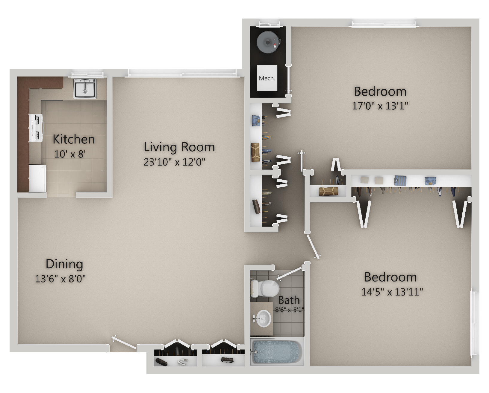 Lake Shore Park Apartments - 2 Bedroom, 1 Bath (Layout A)